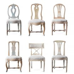 Awesome Swedish chairs. Love the mix and mash of these different silhouettes.                                                                                                                                                                                 More