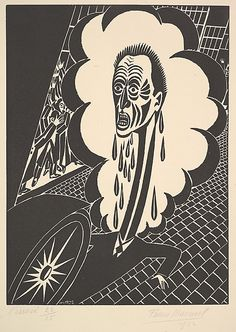 'The Downtrodden (L' Ecrasé),' (1922) by Belgian artist Frans Masereel (1889-1972). Woodcut, 10.625 x 7.75 in. via the Met, NYC