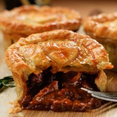 Try this recipe for a Beef, Caramelised Onion & Stout Pie which is a filling and hearty chunky beef pie made with dark beer.