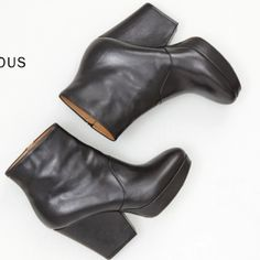 Margiela Black Leather Platform Heels Tall ankle boots. Size 7.5 US or European 38. Worn 3x. Originally from Totokaelo for $1,060. Comes with original box and dust bags!! Gorgeous and sooo comfortable. Authentic Maison Martin Margiela. Not diffusion line MM6! Maison Martin Margiela Shoes