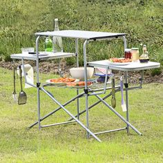 Foldable Camping Outdoor Kitchen Grilling Stand BBQ Table Material: Aluminum, steel, MDF Product dimensions: x x ( L x W x H ) Net weight: 17 lbs Weight capacity of surface board: 44 lbs Weight capacity of two side boards: 22 lbs Folding Bbq, Folding Camping Table, Outdoor Picnic Tables, Patio Tables, Outdoor Camping, Grill Table, Grill Area, Portable Stove, Grill Station