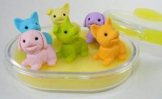 Puppy Dog Eraser Set in Oval Case, 6 Piece. IWAKO. BCM38463 by PencilThings. $10.00. Oval plastic eraser case with color trim.. Case 4.25 x 3.75 x 1.125 tall.. Take-apart erasers and put them back together again and again!. Non-Toxic.. Each Iwako oval pla