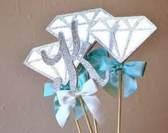 Check out our centerpieces selection for the very best in unique or custom, handmade pieces from our shops. Birthday Board, 13th Birthday, Birthday Ideas, Denim Party, Diamond Party, Diamond Decorations, Denim And Diamonds, Shower Centerpieces, Diamond Anniversary