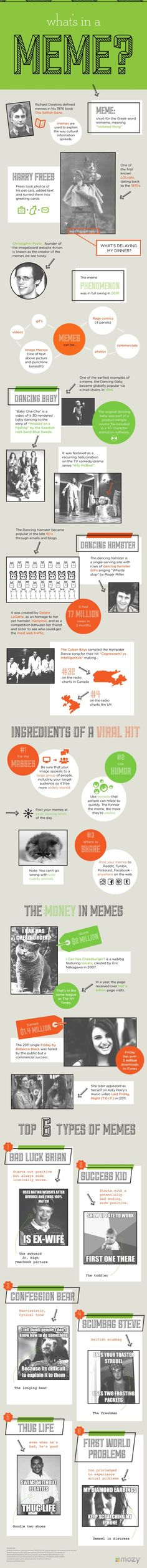 Are memes a mystery?  What's their history?  Can you create a meme and make it go viral?  If you're confused about memes, check this infographic for some answers!   Memes are simply social media visuals that hit a cultural nerve, and go vira