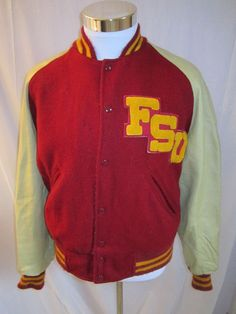 Vintage 1950's/60's Veterans fo Foreign Wars VARSITY LETTERMAN Jacket / Retro Collectable Rare 0KN01PPwVE