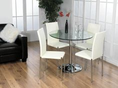 small round glass kitchen table