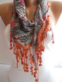 Multicolor Floral Gypsy Shawl/Scarf  Headband Necklace by DIDUCI, $19.90