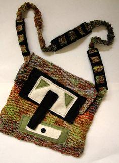 #knitbag , #handknitpurse , #woolknitbag , #crossbodybag , #multicoloredpurse  $38.00