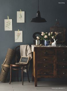 perfect color palette steel grey walls, dark wood and white accents