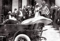 An Historic Moment:  This is a photo of Archduke Franz Ferdinand of Austria-Hungary and his wife, Sophie, who was the duchess of Hohenberg. They're shown here in Sarajevo on June 28, 1914, moments before both were assassinated. Their murder led Serbia's allies to declare war on each other, precipitating the beginning of World War I.