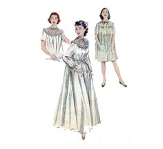 """50s Peignoir Sewing Pattern Short Nightgown Bedjacket Lace Contrast Yoke Nightie Bridal Lingerie Size 20 Bust 38"""" (96cm) Butterick 6997 S on Etsy, $19.99"""