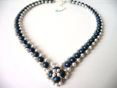Pearl and Midnight Blue Beaded Woven Jewelry ...