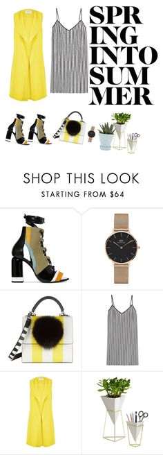 """""""yellow"""" by an14kata ❤ liked on Polyvore featuring Pierre Hardy, Daniel Wellington, Les Petits Joueurs, Marco de Vincenzo, River Island, Umbra and Chive"""