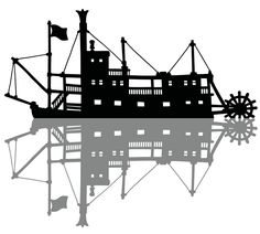 The black silhouette of a vintage paddle steam river boat Black Silhouette, How To Draw Hands, Chandelier, Ceiling Lights, Ship, Paddle, Illustration, Boat, River