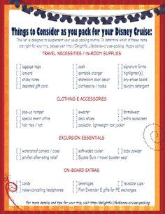 Disney cruise packing list ideas