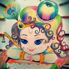 Holi is the festival of colours and Lord Krishna is perfectly showing it. Little Krishna, Cute Krishna, Lord Krishna Wallpapers, Radha Krishna Wallpaper, Lord Krishna Images, Radha Krishna Pictures, Indian Gods, Indian Art, Art Sketches