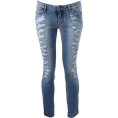 Dolce & Gabbana Distressed Lace Skinny Jean ($995) ❤ liked on Polyvore