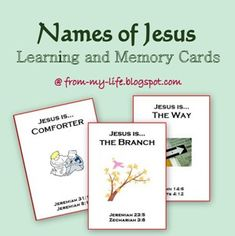 Bits and Pieces From My Life: Names of Jesus Learning and Memory Cards printable