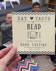 HCMS LIBRARY: BOOK TASTING- she has great ideas and printables- the video is also a good introduction for the kids. Maybe I would also have a book tasting of student favorite books periodically. Library Games, Library Book Displays, Teen Library, Library Events, Library Activities, Library Lessons, Library Books, Library Ideas, Library Lesson Plans