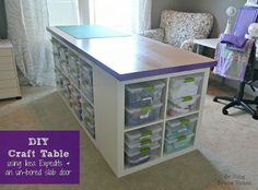 DIY Craft Table - made from IKEA expedits and solid core door as top.