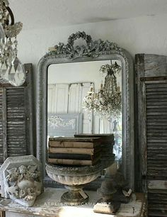 Top home design interior vintage mirror and french lovely. chic living space shelves are so wonderful. French Decor, French Country Decorating, Decoration Shabby, Vibeke Design, Vintage Mirrors, Beautiful Mirrors, French Country Style, Home And Deco, Shabby Chic