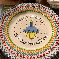 Kristin Mayhew added a photo of their purchase Painted Ceramic Plates, Hand Painted Pottery, Hand Painted Ceramics, Ceramic Painting, Paint Pots, Kids Plates, Birthday Plate, Pottery Painting Designs, Diy Artwork