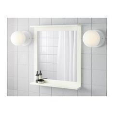 IKEA - SILVERÅN, Półka z lustrem, , Ze względu na swój kształt może służyć jako półka na mydelniczkę lub kubek na szczoteczki do zębów.Świetne rozwiązanie dla małej łazienki.Zabezpieczająca folia na tylnej powierzchni lustra zmniejsza ryzyko skaleczenia się w przypadku stłuczenia lustra.