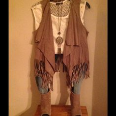 Cute Outfit to wear several ways Creme shirt - small, brown fringe Cardigan - small, Miss Me Jeans jeweled on the front and both back pockets - size 14 in girls (I'm a 00-0 in juniors), Steve Madden open toe bootie boot - size 7, and necklace Other