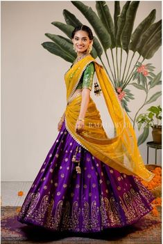 A collection of bright and eccentric half sarees by Bhargavi Kunam Half Saree Lehenga, Lehnga Dress, Indian Lehenga, Bridal Lehenga, Lehanga Saree, Lahenga, Wedding Sarees, Anarkali, Wedding Dresses