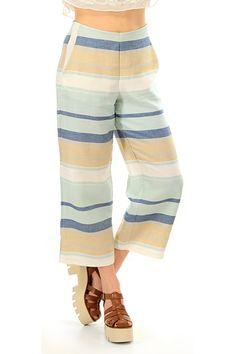Kocca - Pantaloni - Abbigliamento - Pantaloni in lino a righe con zip  laterale e tasche a9729e7166d