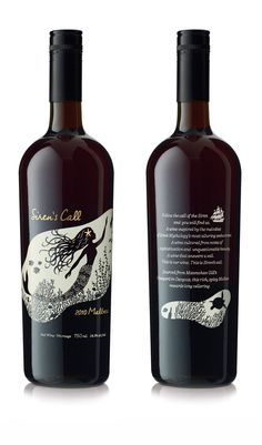 Beatiful wine label design. Hand drawn mermaid illustration.