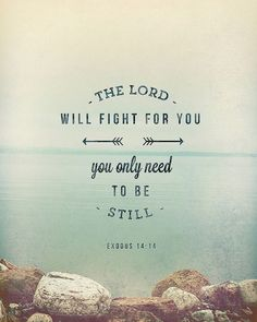 The Lord will fight for you; you need only be still. Exodus 14:14