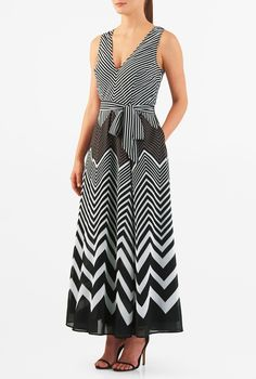 ", 2"" above the ankle length dresses, Black And White dresses, machine wash dresses, maxi dresses, pocket maxi dresses, Polyester Dresses, self-belt dresses, sleeveless maxi dresses, stripe dresses, V neck maxi dresses, woven dresses"