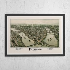 """ANTIQUE PITTSBURGH MAP Vintage Map of by EncorePrintSociety - 11.75"""" x 15.75"""" - $19.95"""