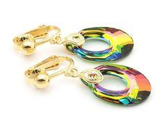 Peacock Swarovski Clip On Earrings Oval by KarolinaLauraDesign