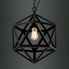 Star Of David Black Finished Cage Industrial Suspension Pendant Light
