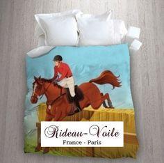 Tissu rideau oeillet ameublement imprim motif dessin t te - Housse de couette motif cheval ...