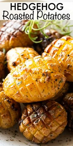 These Hedgehog Roasted Potatoes are a fun and fancy side dish! They're the perfect amount of crispy on the outside but buttery and tender on the inside. #potatoes #sidedish