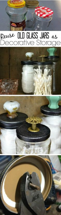 Check out how to reuse old jars for DIY bathroom organization @istandarddesign