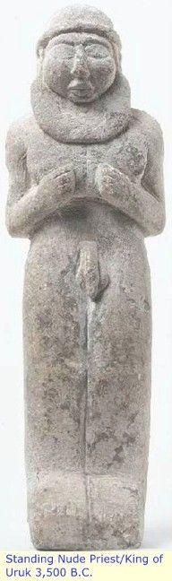 Sumer: Standing Nude Priest / King of Uruk 3,500 BC. / The original Black civilization of Iraq