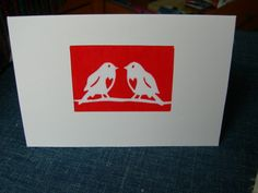 4 Hand Printed Christmas Cards - Robin Papercut Screenprint