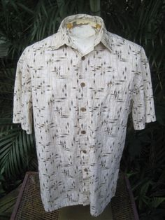 1315c779 HAWAIIAN Aloha SHIRT L pit to pit 25 ISLAND SHORES cotton bamboo stalks  criscros #IslandShores