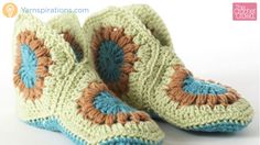 These crochet granny slippers are exquisite to look at. Interestingly enough, each slipper consists of 3 hexagonal shaped grannies.