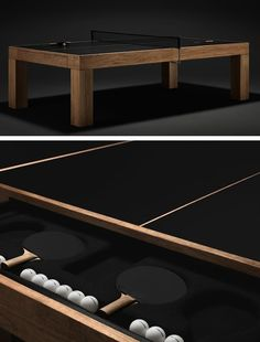 This solid teak table tennis outfit from fashion designer James Perse really puts the Ping in my Pong (actually, I have no idea what that m...