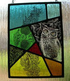 Owl Stained Glass Panel van ChrisDunnGlassDesign op Etsy