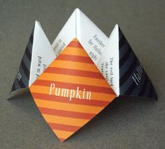 Halloween Cootie Catcher, Party Favor, Origami, Decoration, Game, Children, Kids, Card, Invitation, Costume Party, Modern, DIY, Printable. $10.00, via Etsy.