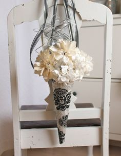 Pew flowers in paper cones, pew flowers, paper flowers, damask, black and white pew flowers. $330.00, via Etsy.
