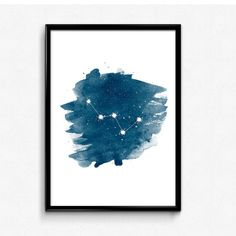 Cassiopeia constellation print, Constellation Art, Star Home Decor, Night Sky wall print, Cassiopeia Print, Watercolor art