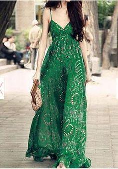 Beach Hunter Green Floral Print Maxi Dress Under 50
