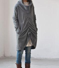 Large lapel drawstring two wear Long coat / coat by MaLieb on Etsy, $76.00